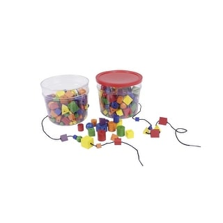 Learning Resources Attribute Beads, Wood, Multiple Colors, Set of 144