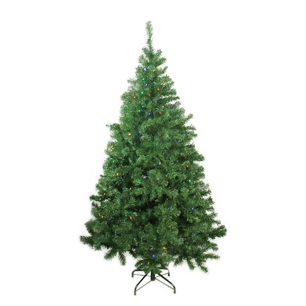 "6' x 42"" Pre-Lit Mixed Classic Pine Medium Artificial Christmas Tree - Multi LED Lights"