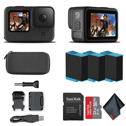 GoPro HERO9 Black - Waterproof Action Camera 32GB Card and 2 Extra