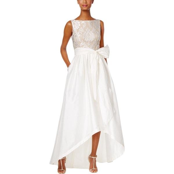 Adrianna Papell Womens Wedding Dress Taffeta Hi-Low