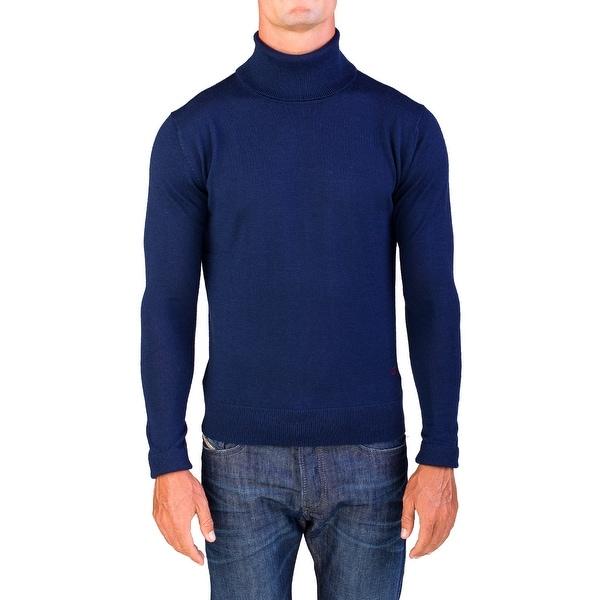 1015f497dd0c Shop Valentino Men s Turtleneck Sweater Navy Blue - Free Shipping ...
