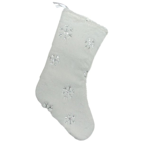 """18"""" White Faux Fur Christmas Stocking with Silver Sequined Snowflakes"""