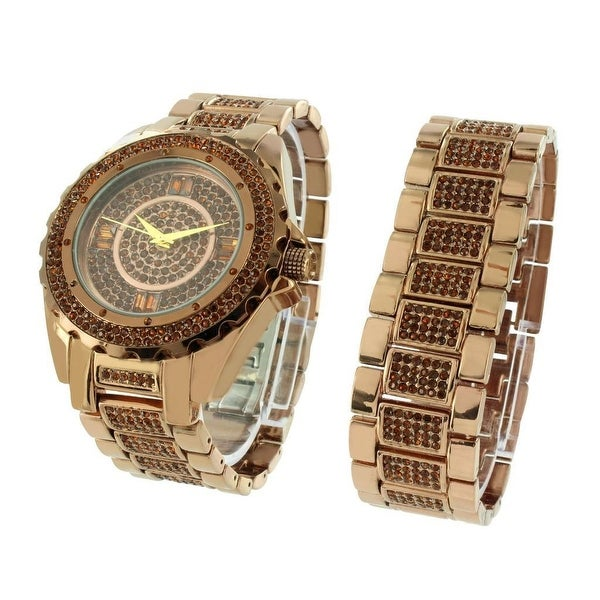Mens Brown Watch & Bracelet Iced Out Simulated Diamonds Stainless Steel Back Analog Display