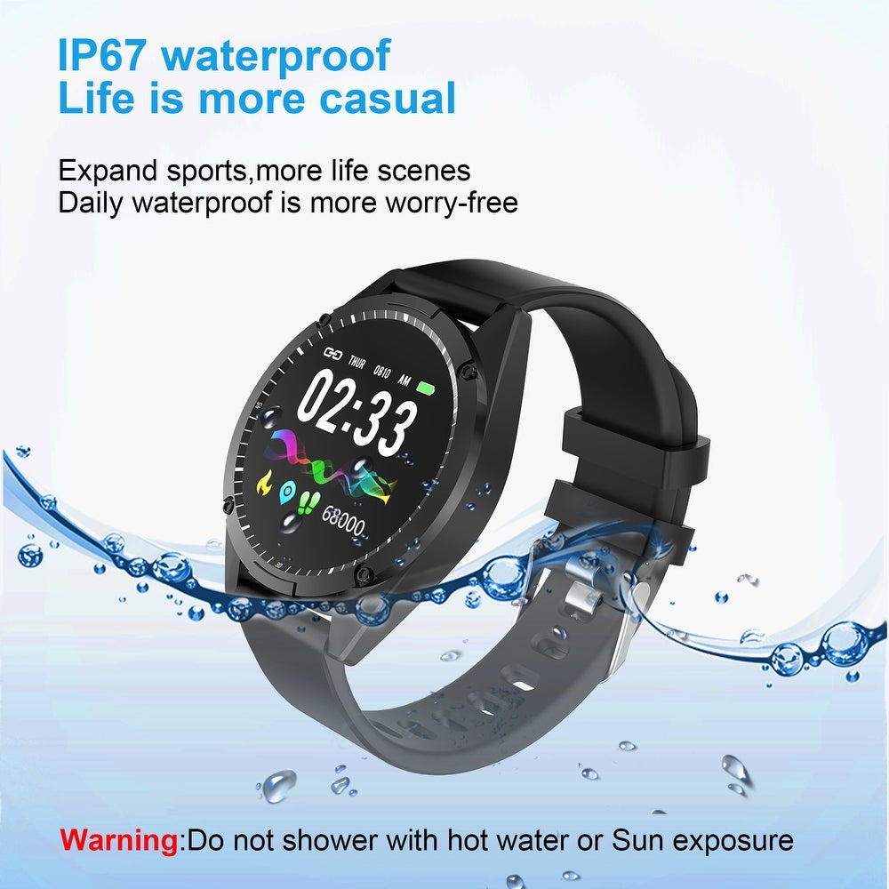 "AGPtek Waterproof Sport Smart Watch Blood Pressure Heart Rate Monitor Fitness Tracker for iOS and Android Phone - 7'6"" x 9'6"" (Kits - Black -"