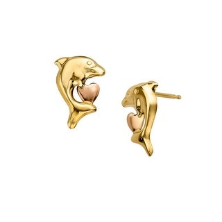 Just Gold Girl's Dolphin Heart Earrings in 14K Two-Tone Gold