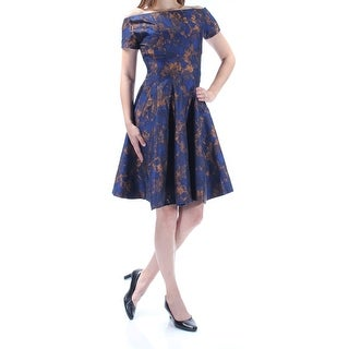 B MICHAEL $350 Womens New 1129 Blue Printed Short Sleeve Fit + Flare Dress 0 B+B