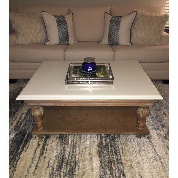 Shop Elements Cream Wood Coffee Table Free Shipping Today