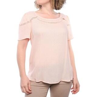 Ella Moss Circle Trim Short Sleeve Scoop Neck T-Shirt Women Regular T-Shirt
