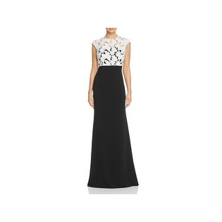Carmen Marc Valvo Womens Evening Dress Lace Popover