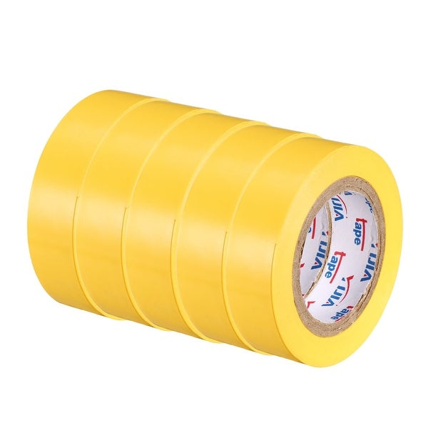"""PVC Electrical Insulating Tape Single Sided 21/32"""" Width 49ft 20mil Yellow 5pcs - 20 mil Thick, Yellow"""