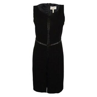 Laundry Women's V-Neck Faux Leather Trim Dress