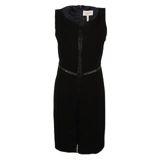 Laundry Women's V-Neck Faux Leather Trim Dress - Black - 16