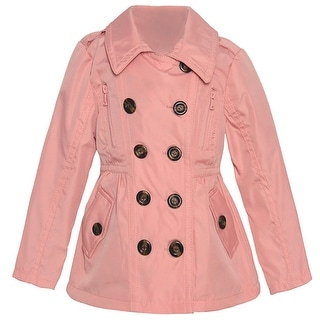Urban Republic Little Girls Pink Double Breasted Back Button Detail Coat