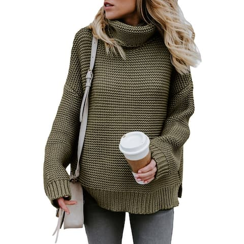 Women's Solid Color High Collar Long Sleeve Rib Knit Sweater