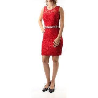 Womens Red Sleeveless Above The Knee Body Con Prom Dress Size: 7