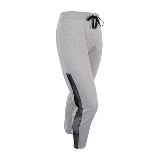 Material Girl Juniors' Mesh-Side Fleece Jogger Pants - heather platinum - XL