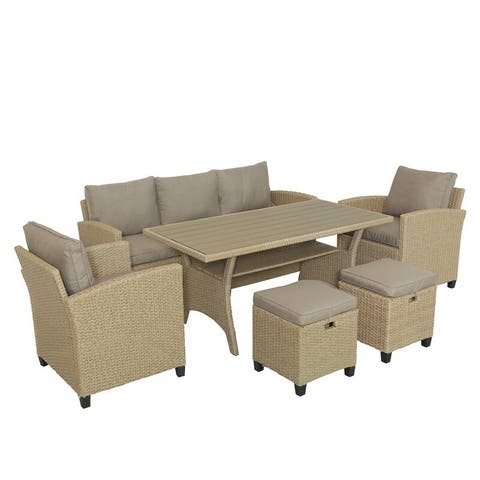 Millie-Jay Round 6 - Person 26.4'' Long Dining Set with Cushions
