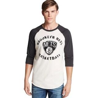 Junk Food Brooklyn Nets Basketball T-Shirt Large L Beige 3/4 Sleeve Tee
