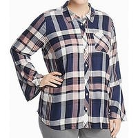 Two By Vince Camuto Blue Womens Size 2X Plus Button Down Shirt