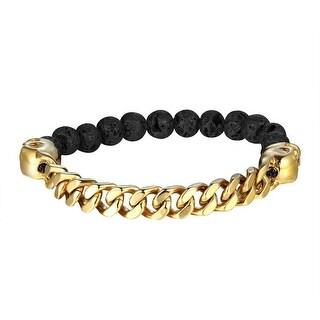 Miami Cuban Bracelet Black Lava Stone Bead Links Gold Tone Stainless Steel