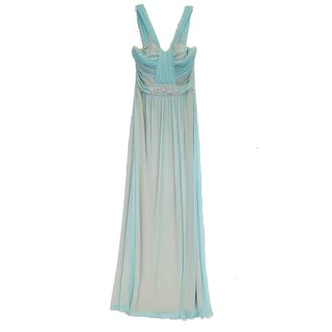 B. Smart Formal Dress with Rhinestone Waist Detail, Blue, 8
