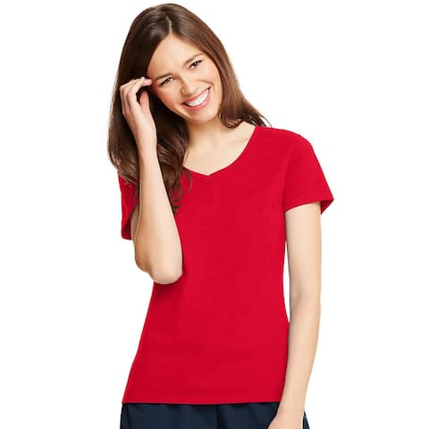 Hanes Women's X-Temp® V-Neck T-Shirt - Size - L - Color - Deep Red