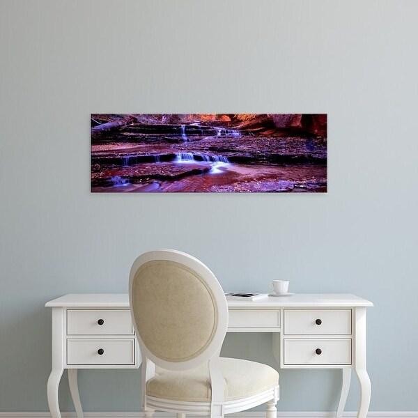 Easy Art Prints Panoramic Image 'Stream flowing through rocks, North Creek, Zion National Park, Utah, USA' Canvas Art