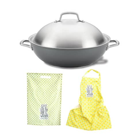 Anolon Accolade 13.5-Inch Wok with Lid with Cotton Apron and Dishtowel