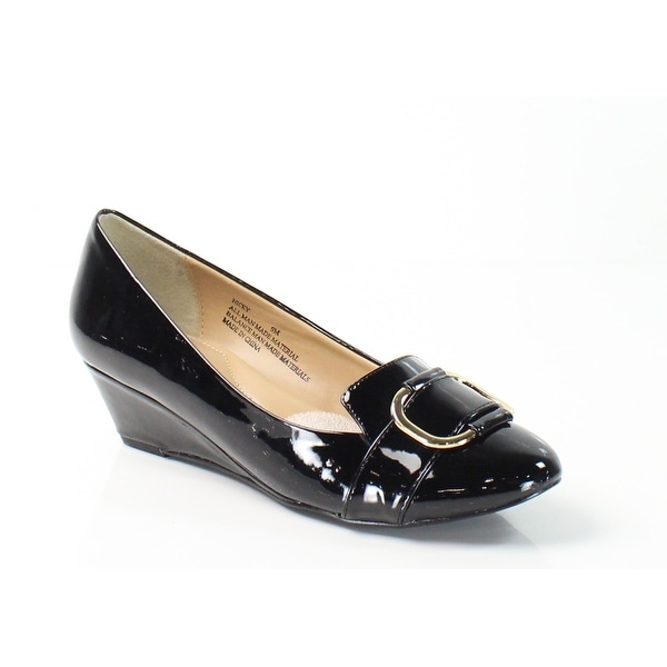 Fitzwell NEW Black Nicky Patent Shoes 8M Hardware Wedges Heels
