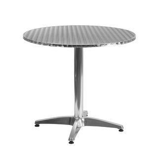 "Offex 31.5"" Round Aluminum Indoor-Outdoor Table With Base"