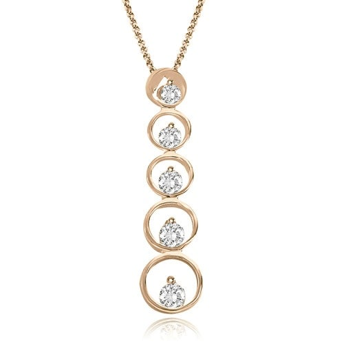 1.00 cttw. 14K Rose Gold Round Cut Diamond Five-Stone Journey Pendant