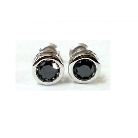 Fabulous Round Brilliant Cut Genuine Black Diamond Screw Back Stud Earring