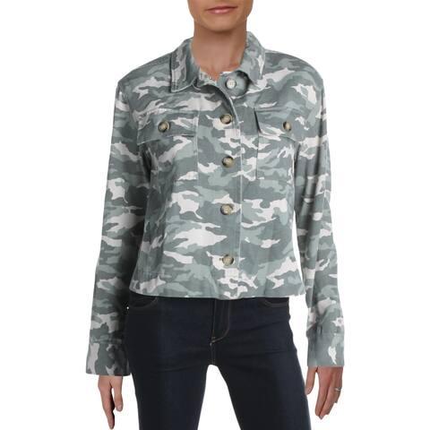 Aqua Womens Cropped Jacket Camo Button-Down - Green - M