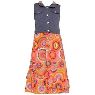 Ok Kids! Little Girls Multi Color Pattern Hooded Vest Sleeveless Dress 4