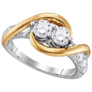 14kt Two-tone Gold Womens Round Natural Diamond 2-stone Bridal Wedding Engagement Ring 1.00 Cttw - White