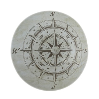 Nautical Compass Rose Decorative Metal Wall Plaque - White