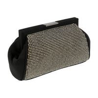 Scheilan  Black Fabric Double Sided Crystal Paneled Clutch/Shoulder Bag - 7-4.5-2.5