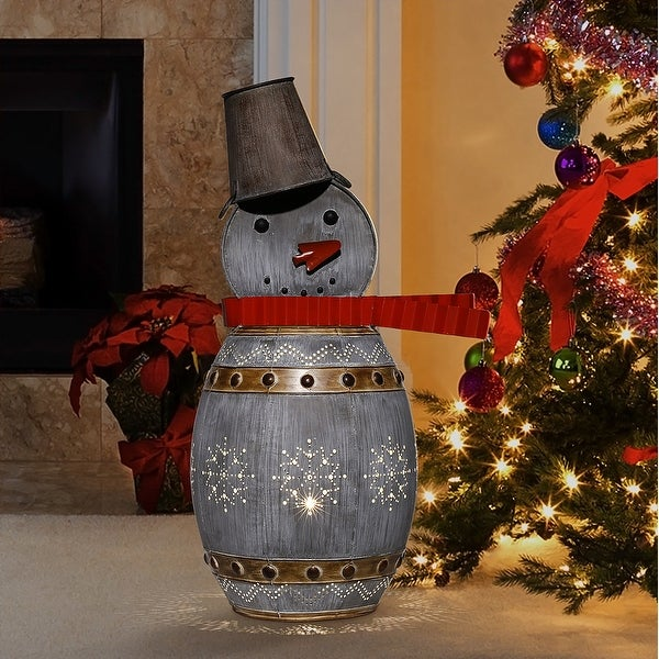 Alpine Corporation Metallic Barreled Snowman with White LED Lights - Silver. Opens flyout.