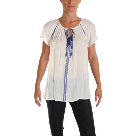Vintage America Womens Anisa Casual Top Short Sleeves Embroidered