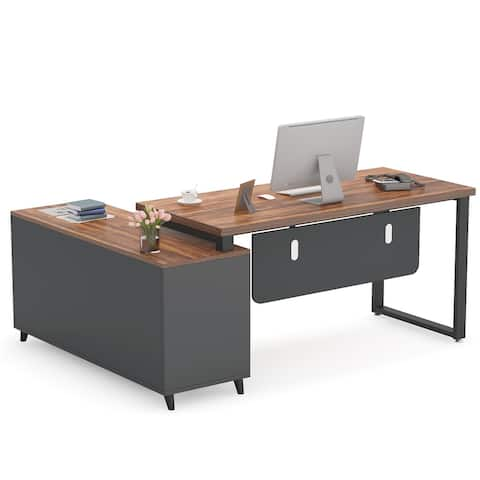 L Shaped Desk Executive Office Desk with Drawer Cabinet
