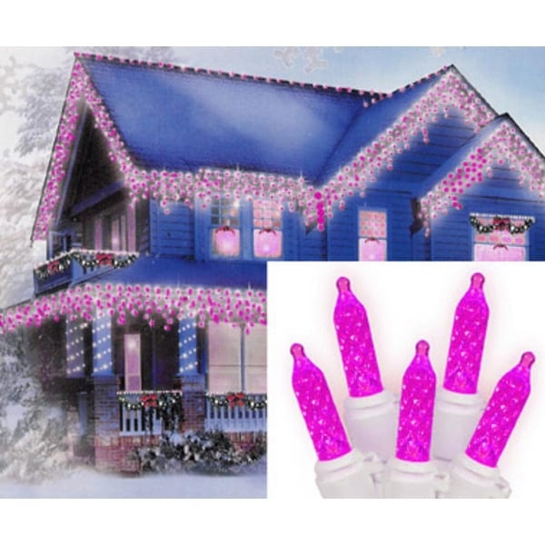 Set of 70 Hot Pink LED M5 Icicle Christmas Lights - White Wire