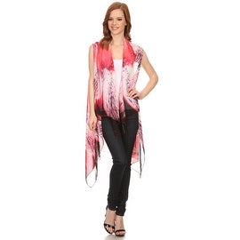 Womens Red Abstract Lightweight Sleeveless Poncho with Armholes.