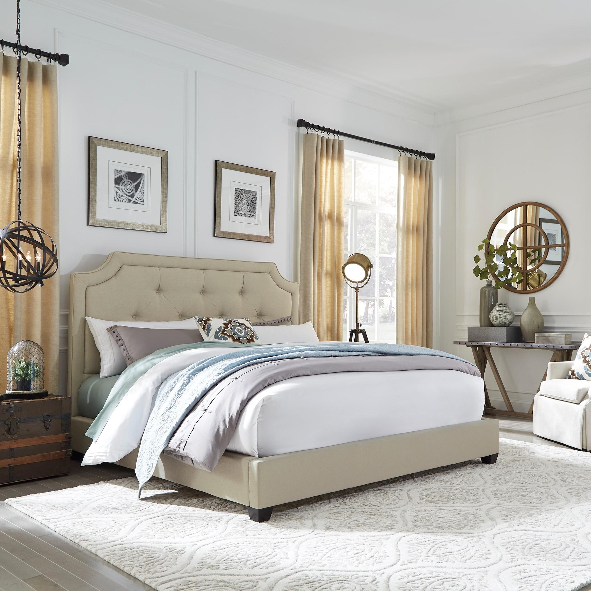 Natural Linen Upholstered Sloped Panel Bed Set Overstock 10792121