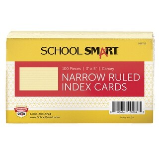 School Smart 90# Ruled Index Card, 3 x 5 Inches, Canary, Pack of 100