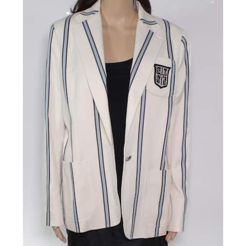 Lauren By Ralph Lauren Womens Blazer White Ivory Size 14 Bullion-Patch