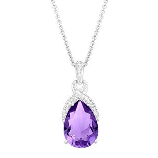 Crystaluxe Drop Pendant with Purple Swarovski Crystal in Sterling Silver