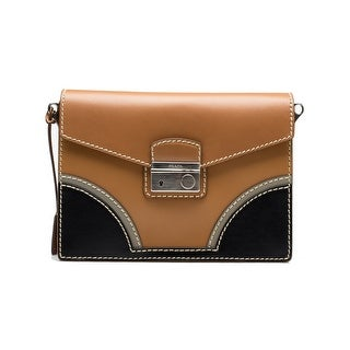 Prada Women's Flap Leather Handbag Satchel Cross Body Natural Tan Beige Black - M