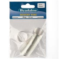 Beadalon Ring Size Memory Wire Silver Plated Steel 95 Loops 1/2 Oz