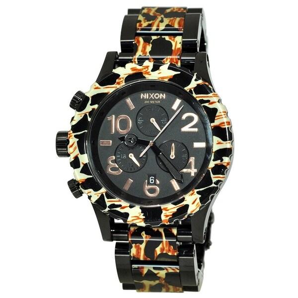 Nixon Men's '42-20 Chrono' All Black/Leopard Watch. Opens flyout.