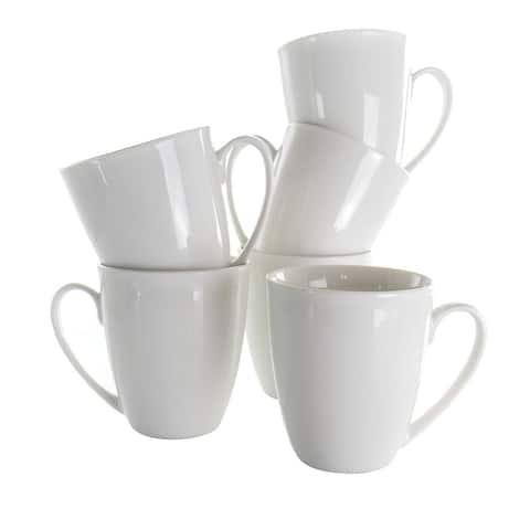 Elama Rosales 6 Piece 12 Ounce Porcelain Mug Set in White